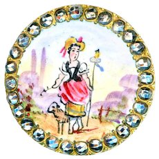 Button--Late 19th C. Little Bo Peep and Lambie in Hand Painted Enamel and Cut Steels