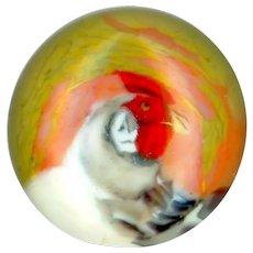 Button--Modern Vasa Murrhina Glass Paperweight Foghorn Leghorn Rooster