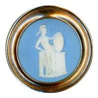 Button--Large 18th C. Jasper Ware in Gilt Copper of Minerva and Her Shield Portraying Medusa