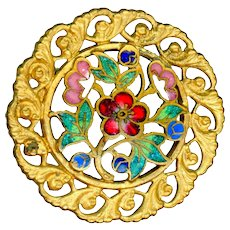 Button--Late 19th C. Champleve Enamel Flowers in Open-Work Brass Medium