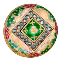 Button--Large Domed Late 19th C. Neo-Renaissance Champleve Enamel and Cut Steels