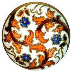 Button--Late 19th C. Champleve Enamel Trefoil Flora-foliate--Medium