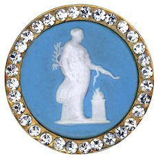 Button--Outstanding Large 19th C. Deluxe Wedgwood Hygeia in Rhinestone Border