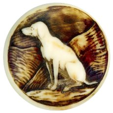 Button--Early 19th C. Sporting Hound Carved of Stag Horn--Medium