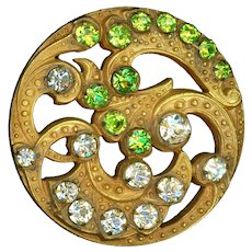 Button--Large Late 19th C. Jeweled Open Design Brass Scrolls