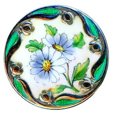 Button--Early 20th C. Sterling Silver  Unusual Tulip Border Enamel Cornflowers