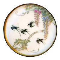 Button Extra Large Late 19th c. Japanese Satsuma Pottery Swallows in Wisteria
