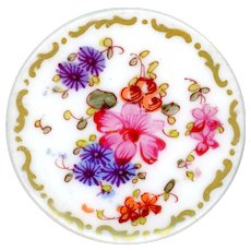 Button--Large Early 19th C. Hand Painted Soft Paste Porcelain Flowers & Scrollwork