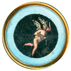 Button--Mid-18th C. Medium Design Under Glass in Brass--Winged Naked Man