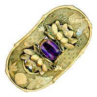 Brooch--Very Large Japoniste Brass Sash Pin with Asian Motifs and Purple Glass Jewel