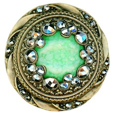 Button--Large Late 19th G. Art Glass Cabochon in Tiered Cut Steels on Brass