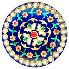 Button--Exquisite Early 1800s Enamel with Fancy Paillons and Pierreries on Blue