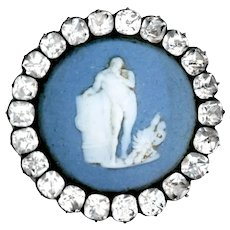 Button--Large Late 18th C. Georgian Wedgwood Jasper Ware Hercules in Paste and Sterling Silver