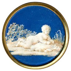 Button--Large 18th C. Georgian Hand Painted Under Glass Cherub with Ducklings