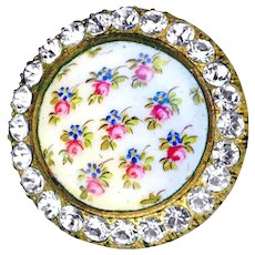 Button--Late 19th C. Chintz Hand Painted Enamel Roses & Forget-me-nots