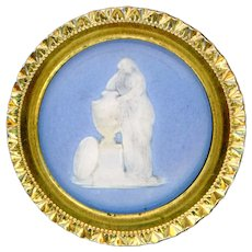 Button--Large 18th C. Georgian Wedgwood on Copper Charlotte Mourning Werter