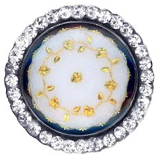 Button--Late 19th C. Jeweled Silver Basse Taille Enamel with Golden Rose Sprig Paillons