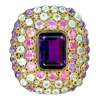 Brooch--Large 1040s Hobe Jewels of Legendary Splendor  Sterling Silver Vermeil & Cut Glass