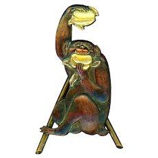 Unusual Japanese Shakudo Monkey Gobbling Golden Peaches--Place Card Holder