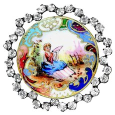 Button--Large Late 19th C. Emaux Peints Enamel Country Lady in Rhinestones