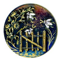 Button--Large Late 19th C. Engraved Tole Brass with Cut Steel Bees & Garden Gate