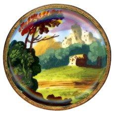 Button--Large 18th C. Georgian Bilston Hand Painted Enamel Landscape on Copper
