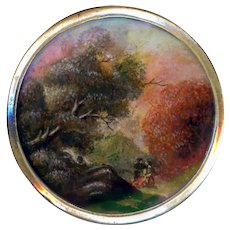 Button--Late Georgian Painting Under Glass In Brass Woods Walking