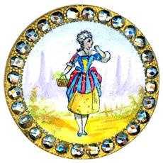 Button--Large Late 19th C. Figural Enamel Lavender Seller with Cut Steels