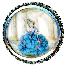 Button--Early 19th C. Hand Painted Lady in Blue Dress Under Glass in Silver