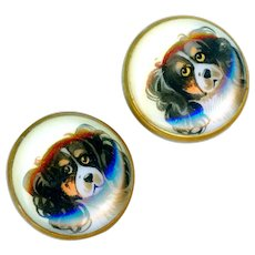 Cuff Buttons--Late 19th C Hand Painted Glass Grumpy Prince Charles Cavalier Spaniels