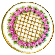 Button--Large Mid-19th C. Hand Painted Porcelain Rose Wreath and Gold Diaper Lattice