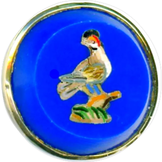 Button--Mid-19th C. Micromosaic Black Crowned Bird in Blue Glass Waistcoat