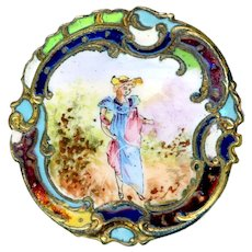 Button--Large Late 19th C. Enamel on Brass Rustic Lady Revealing Her Ankle