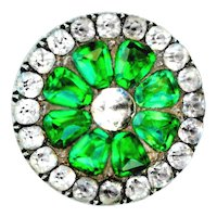 Button--Late 18th C. Crystal and Emerald Green Paste in Silver Vermeil Medium