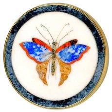 Button--19th C. Hard Stone Pietra Dura Florentine Mosaic Butterfly in 14 Karat Gold