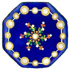 Button--Very Fine Large 18th C. Georgian Octagonal Enamel with Paillons and Pierreries