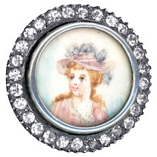 Button--Late 19th C. Hand Painted Lady with Moles Under Glass in Rhinestone Border