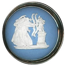 Button--Very Large Mid-19th C. Wedgwood Jasperware Archers in Sterling Silver