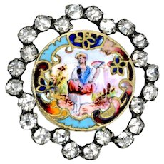 Button--Late 19th C. Rhinestone Reticulated Border and Hand Painted Enamel Lady with Fan