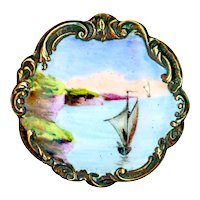 Button--Late 19th C. Hand Painted Enamel Maritime Scene