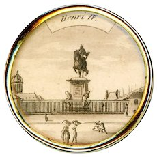 Button--Large 18th C. Paris Engraving of Henri IV Monument in Copper Under Glass