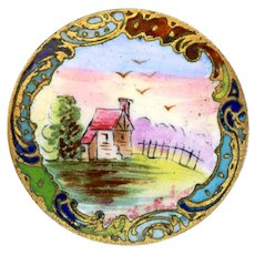 Button--Late 19th C. Emaux Peints Enamel Rustic Scene in Rococo Border