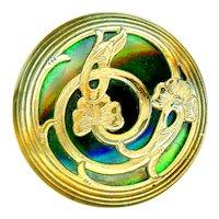 Button--Large Late 19th C. Art Nouveau Brass Flora-foliate Overlay Green Glass