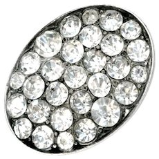 Button--Large Vintage Oval Brilliant Pave Set Rhinestones in White Metal