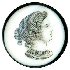 Button--Mid-19th C. Liverpool Monochrome Transfer of Grecian Lady on Porcelain