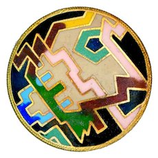Button--Early 20th C. Art Deco Jazz Age Matte Champleve Enamel on Gilded Brass
