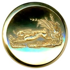 Button--Very Fine Medium Sporting Bright Gold-plated Brass Running Rabbit