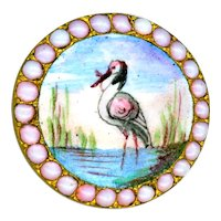 Button--Late 19th C. Emaux Peints Enamel Marsh Bird with Exquisite Pink Opal Pierreries