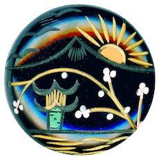 Button--Large Vintage Japoniste Carved and Painted Black Bakelite