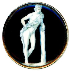 Button--Large 18th C. Georgian En Grisaille Greco-Roman Male Youth Under Glass